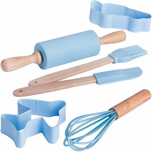 《EXCELSA》兒童餅乾模+桿麵棍工具6件(藍)