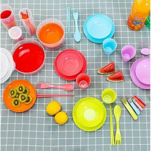 戶外露營 兒童環保餐具組 野餐燒烤餐具組碗水杯筷子叉勺盤子