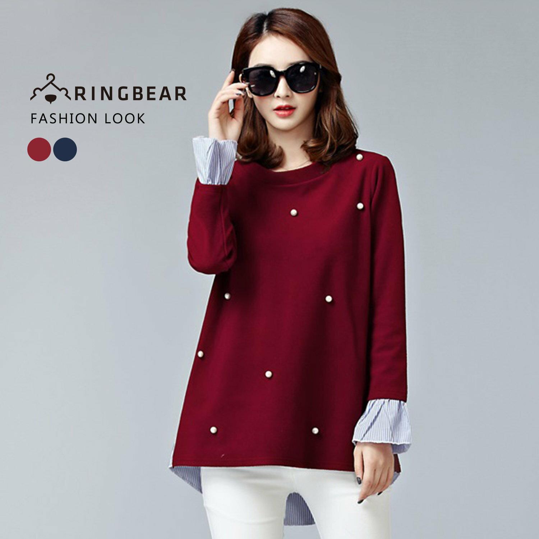 長版上衣--典雅珍珠釘珠氣質細褶袖口長短下襬假兩件上衣(紅.藍XL-4L)-X262眼圈熊中大尺碼 1