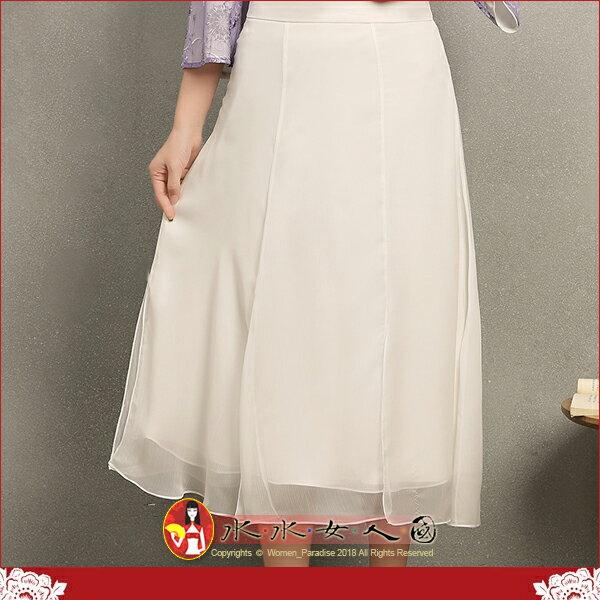 【水水女人國】~如詩如畫~另人驚豔。藝術極品中國風美穿在身~白慕。復古文藝范純淨白色改良式時尚飄逸花瓣開衩中長裙