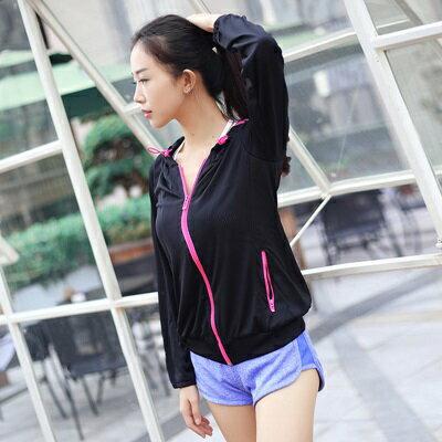 瑜珈服連帽外套-春夏透氣彈力健身女運動服3色73rh14【獨家進口】【米蘭精品】