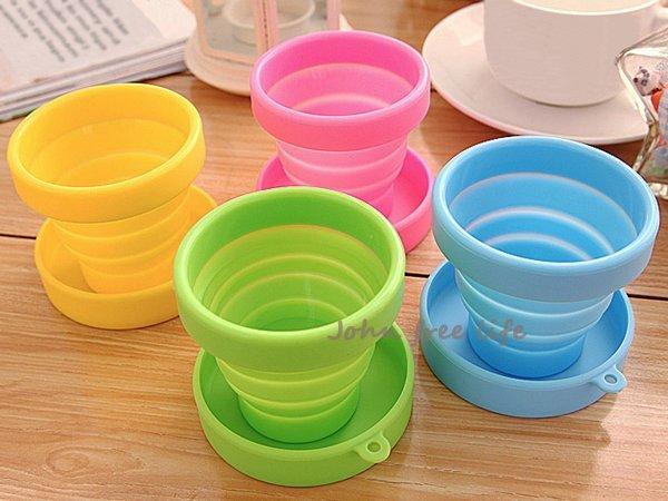 約翰家庭百貨》【YX040】糖果色便攜旅行矽膠折疊杯 戶外運動伸縮水杯 隨機出貨