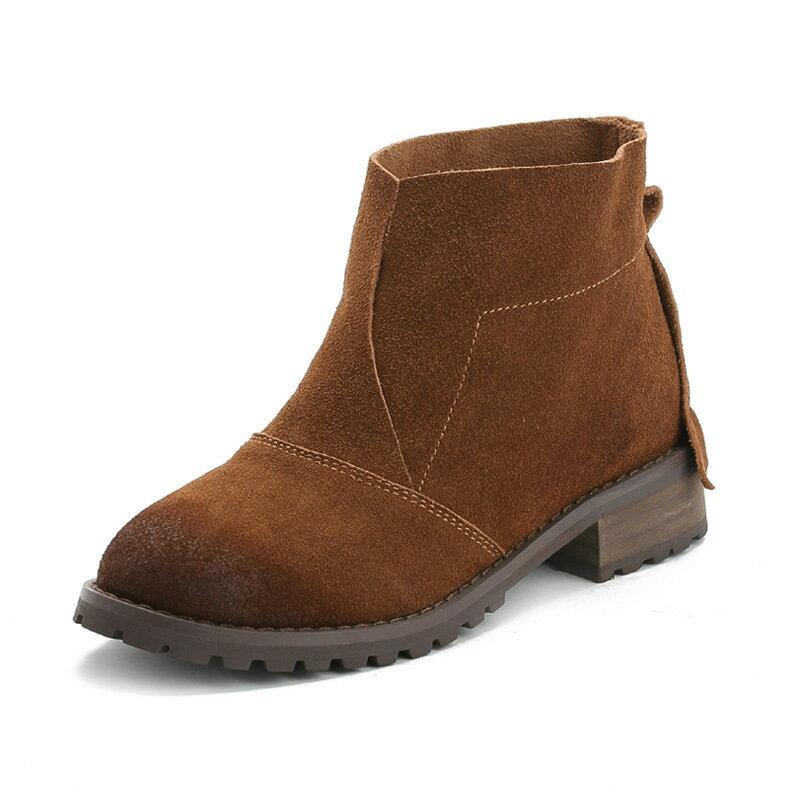 真皮2016 短靴磨砂牛皮復古女靴粗跟厚底馬丁靴騎士靴裸靴