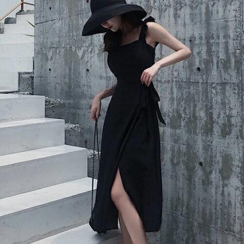 PS Mall 渡假風開高叉露腰荷葉邊連身裙綁帶洋裝【T708】 - 限時優惠好康折扣