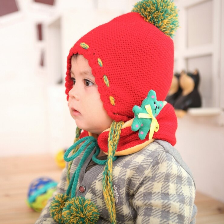 Kocotree◆  可愛彩球小熊防寒兒童毛線帽 圍巾 2件套 ~ 紅色