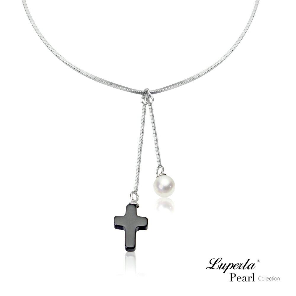 大東山珠寶 氣質黑瑪瑙十字架 珍珠925銀項鍊