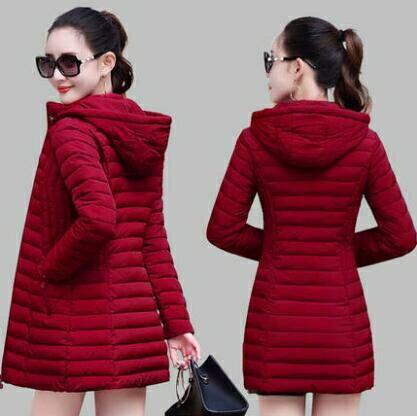 夯貨折扣! 羽絨外套 棉衣女士中長款2021年新款冬季輕薄羽絨棉服修身時尚媽媽棉襖外套