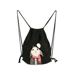 束口袋 思考的兔子卡通動物雙肩帆布包抽繩布袋日韓潮流背包環保袋學生包【韓國時尚週】
