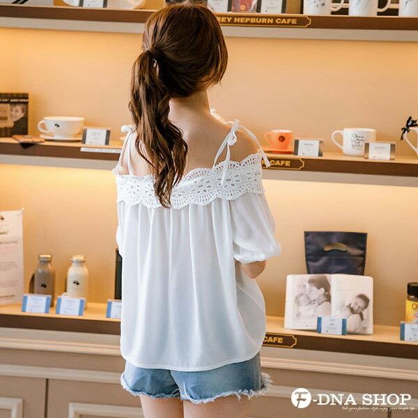 F-DNA★甜美肩綁帶蕾絲雪紡上衣(白-S-XL)【ETD2279】 2