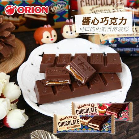 韓國 ORION 好麗友 醬心巧克力(單支) 28g Market O 巧克力 咖啡提拉米蘇 草莓 醬心 【N600043】