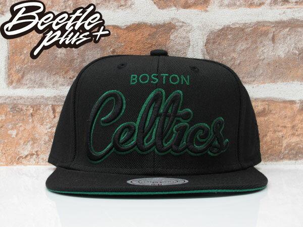 BEETLE MITCHELL&NESS SNAPBACK 波士頓 塞爾提克 黑綠 文字 LOGO 螢光 後扣棒球帽 MN-356