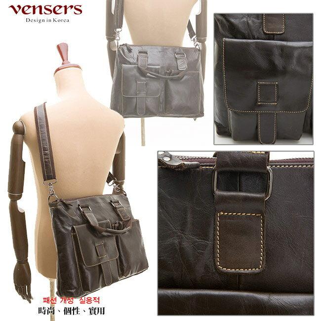 【Vensers】小牛皮潮流個性包~斜肩背包(N026001深色) 3