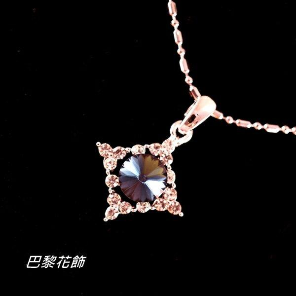冰藍誓約 魅力動人水晶項鍊~巴黎花飾~