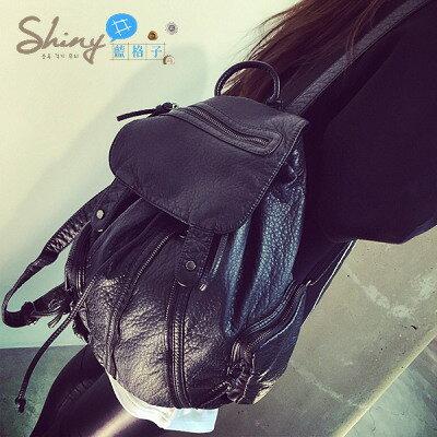 【P085】shiny藍格子-學院風.新款水洗皮pu大容量旅行雙肩背包