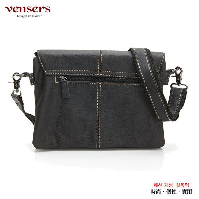 【Vensers】小牛皮潮流個性包~斜肩背包(N131001黑色) 1