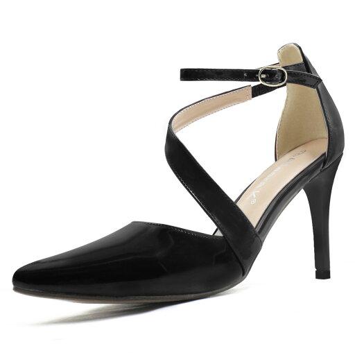 18-1# Women Asymmetrical Strap Stiletto Heel Pointy-Toe Pumps Black/US 6.5 216aec54e98fa1a2004442edaf1cb957