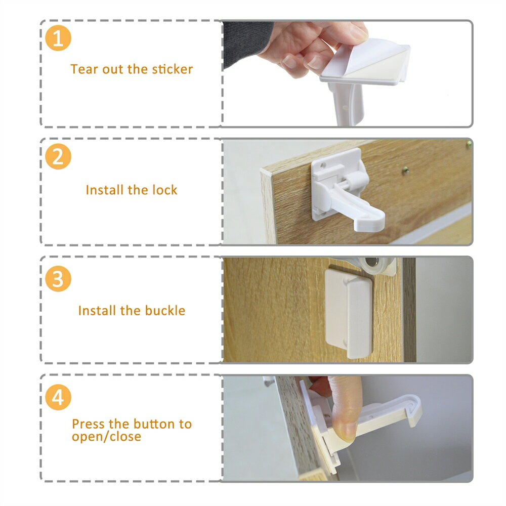 Cabinet Locks Child Safety Cabinet Latches Locks, 10 Packs, Easy to Install, No Tools or Drilling Needed, Invisible Design, with Buckles and Screws - White 7