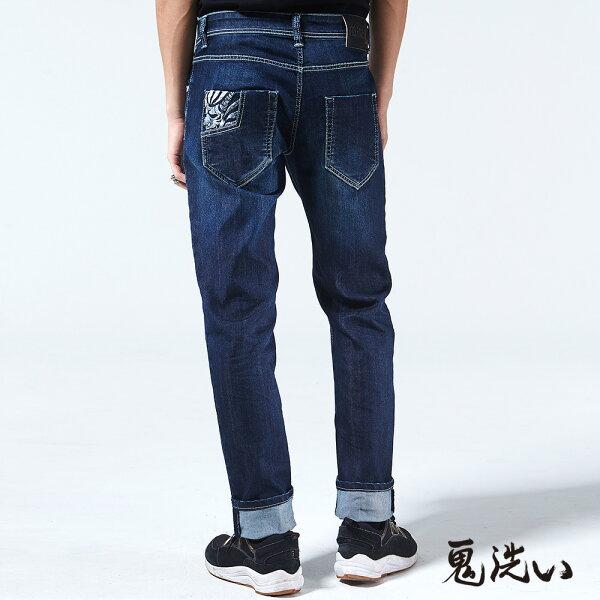【春夏新品】冰礦磁之力COOLMAX丹寧長褲(深藍)-BLUEWAYONIARAI鬼洗