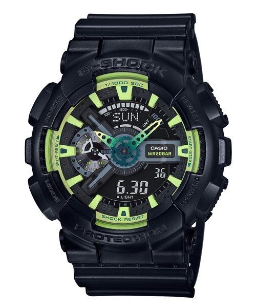 【時光鐘錶】G-SHOCK CASIO GA-110LY-1A 卡西歐 防水 運動 雙顯 錶