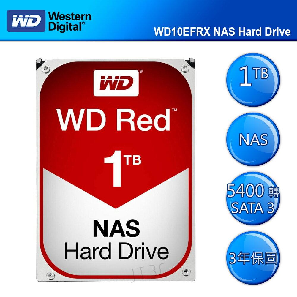 【滿3千15%回饋】WD 威騰 紅標 1TB 3.5吋 WD10EFRX 5400轉/SATA3/64MB/三年保固 NAS 專用硬碟※回饋最高2000點