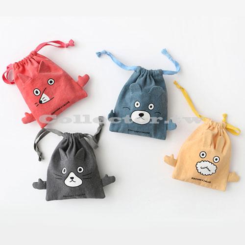 【F16120102】韓版俏皮卡通棉布束口袋-S號 旅行收納袋 行李抽繩袋 衣服小物收納整理袋