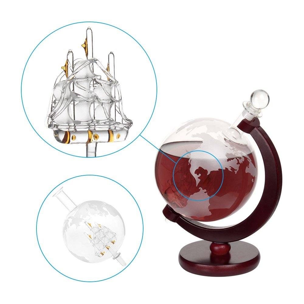 Whiskey 1000 ml Decanter For Spirits Or Wine Decorative Etched World Globe Glass Fiberboard Stand With Crafted Glass -Sailing Ship 0