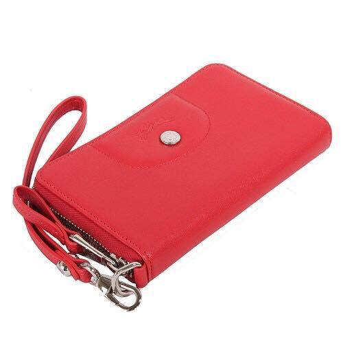 【LONGCHAMP】 Le Pliage Cuir系列小羊皮手拿/零錢包(紅)【全店免運】 2