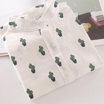長袖襯衫 仙人掌印花立領微透長袖襯衫 M~XL【S-17-0026】LYNNSHOP