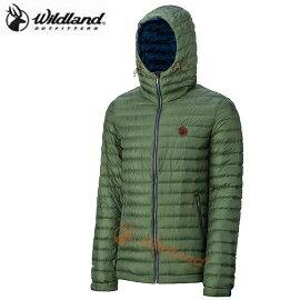 [ WILDLAND 荒野 ] 男 700FP連帽輕羽絨外套 灰綠 / 0A32112-05