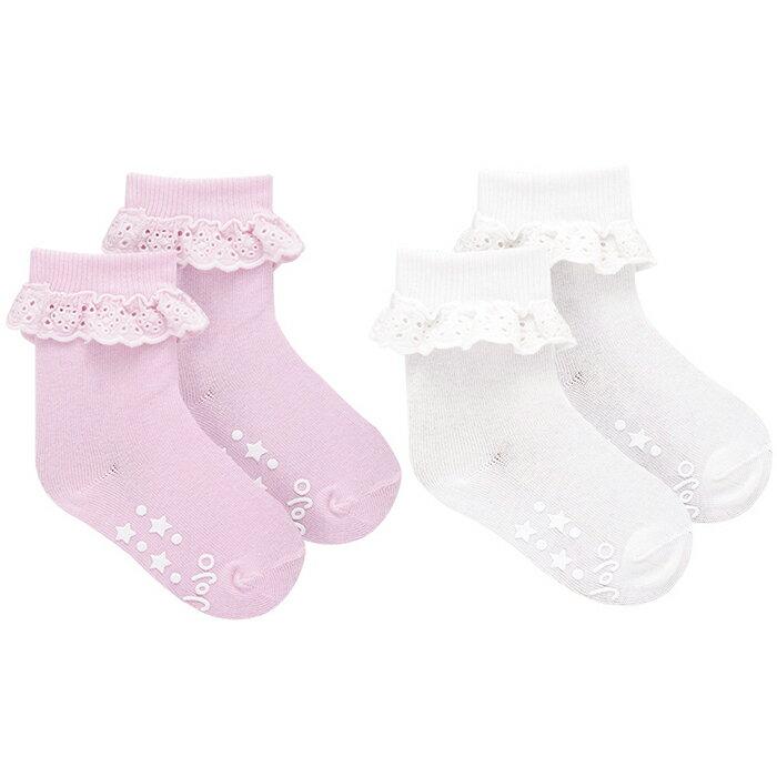 【hella 媽咪寶貝】英國 JoJo Maman BeBe 柔細寶寶兒童短襪/棉襪 2入組 粉白荷葉 (JJS2-001)
