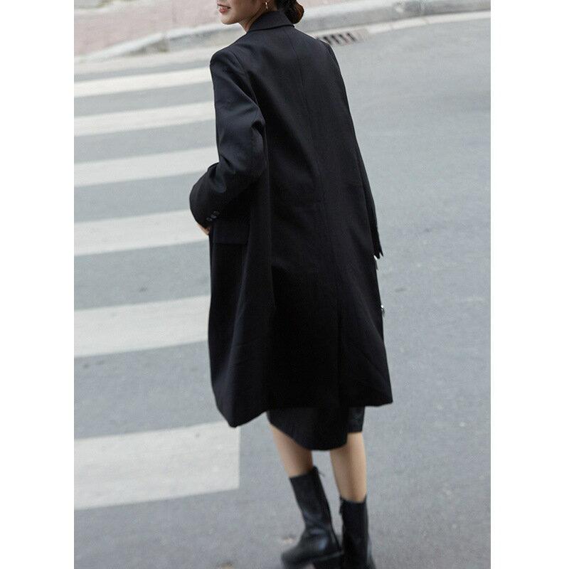 2021春季新款輕熟氣質韓版長袖西裝領直筒型女式風衣