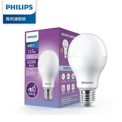 Philips 飛利浦 超極光 13W LED燈泡-晝光色6500K-12入(PL012-12) +送開關磁吸式小夜燈