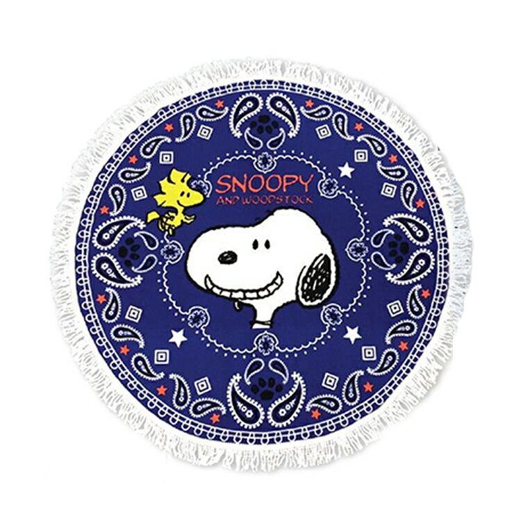 日本製 史努比 史奴比 Snoopy 多功能圓形墊 居家地墊 野餐地墊 海灘墊 藍色 日本進口正版 054226