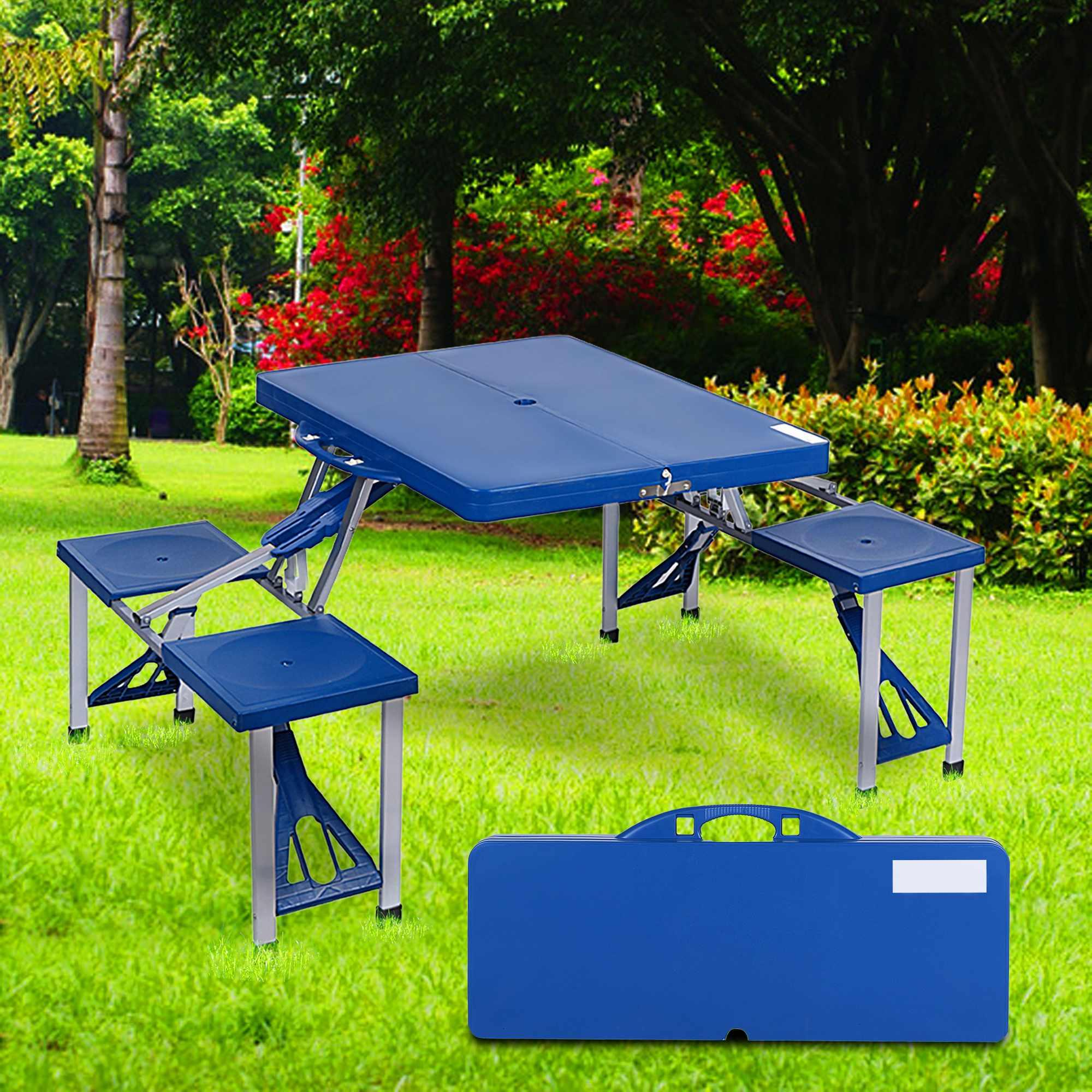 Portable Folding Outdoor Camp Suitcase Picnic Table with 4 Seats 4