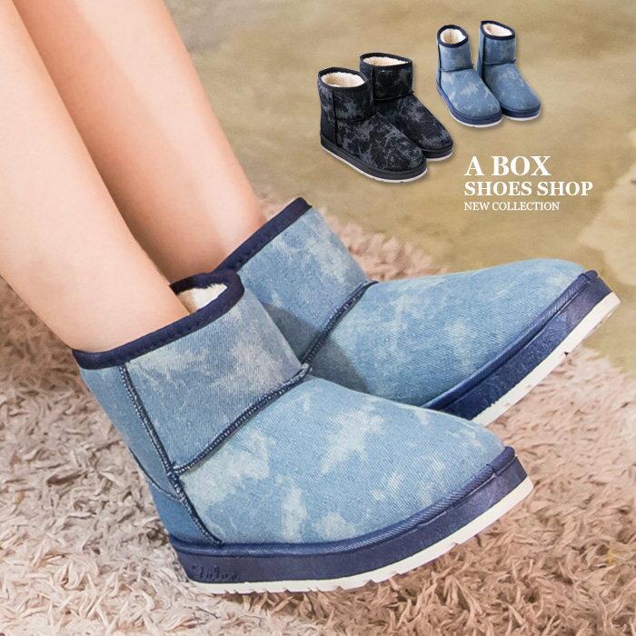 【KR807】基本款百搭牛仔雪花紋帆布 保暖柔軟厚毛料 防滑膠底短筒雪靴 雪地靴 2色 0
