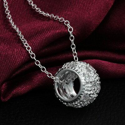 925純銀項鍊 鑲鑽吊墜~精緻圓環 情人節生日 女 73ax12~ ~~米蘭 ~