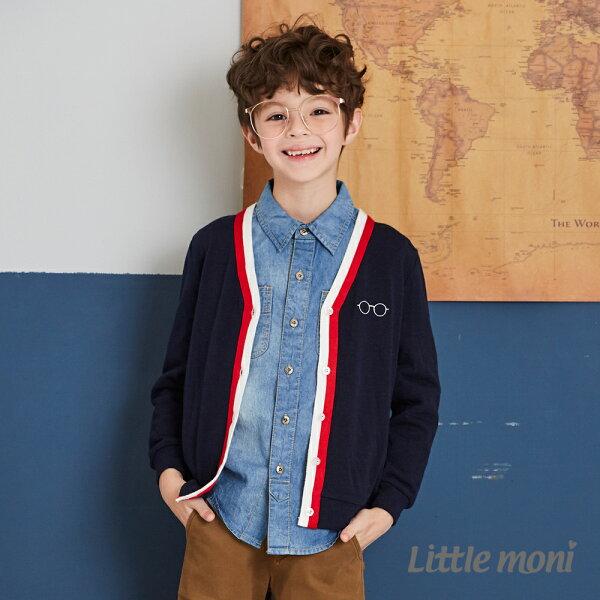 Littlemoni學院風針織外套-深藍