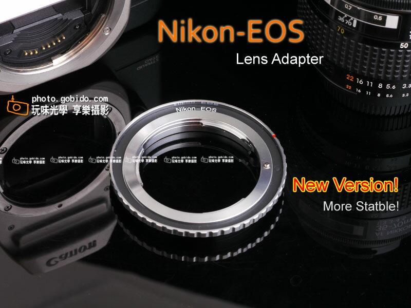 [享樂攝影]Nikon-EOS 銀黑色 nikon鏡頭轉接 Canon 佳能 EOS ( EF 接環) 銀黑版 AI AI-S AF-D 保證不晃