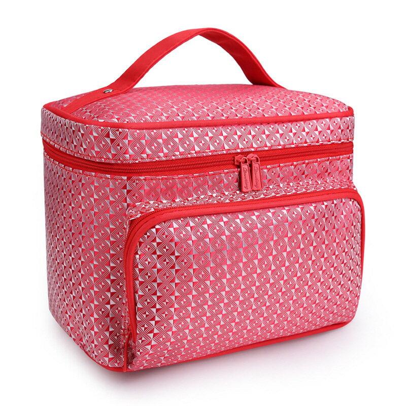 韓國化妝包大容量收納包菱格洗漱包手提包-花紅色