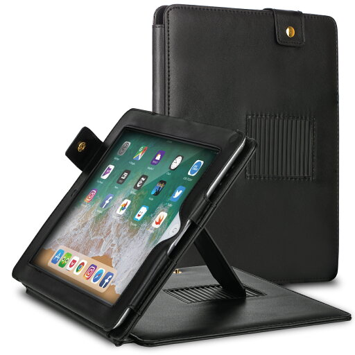 Black Leather Carrying Folio Case with Built-in Stand for Apple iPad 2 2nd Gen