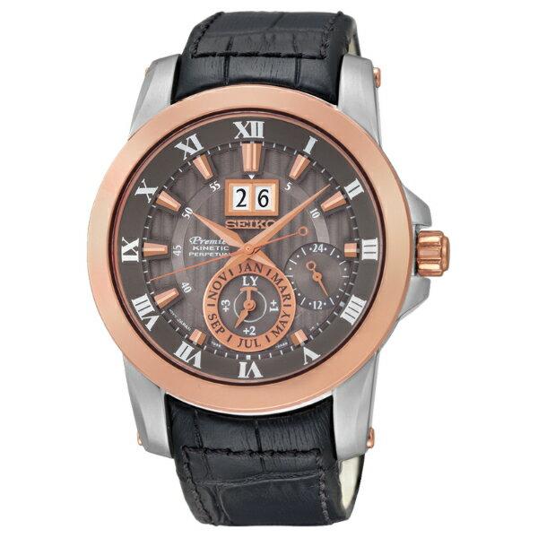 Seiko Premier 7D56-0AB0G(SNP114J2)人動電能萬年曆大視窗日期經典腕錶/咖啡面金框41mm