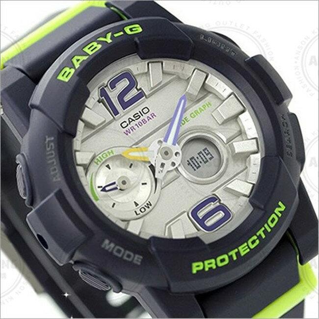 國外代購CASIO BABY-G 衝浪潮汐月相 BGA-180-2B 深藍瑩光綠 雙顯 防水 手錶 腕錶 情侶錶
