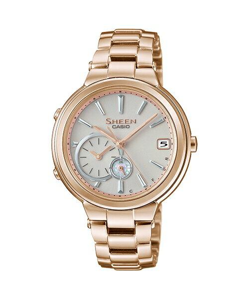 CASIO SHEEN SHB~200CG~9A 玫瑰金框藍芽 腕錶  白面35mm