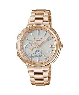 CASIO SHEEN SHB-200CG-9A 玫瑰金框藍芽時尚腕錶/白面35mm