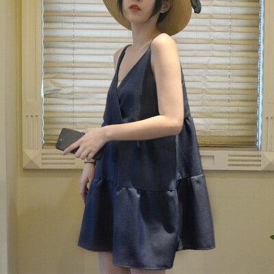 韓系女裝閨蜜裝交叉v領背心吊帶連身裙洋裝樂天時尚館。預購