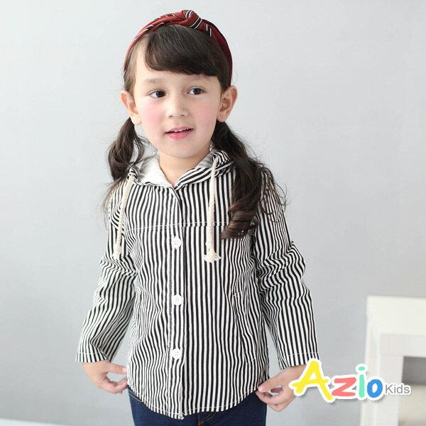 Azio Kids美國派:《AzioKids美國派童裝》外套直條紋抽繩連帽外套(黑)