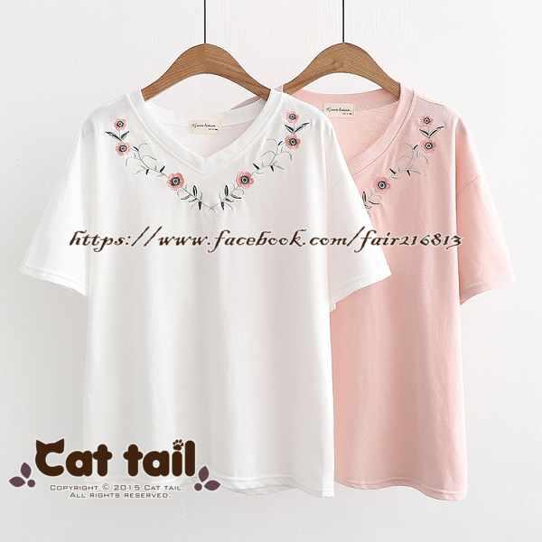 《貓尾巴》TS-0822小清新甜美花朵刺繡短袖上衣(森林系日系棉麻文青清新)