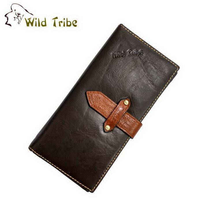~Wild Tribe~穿帶 真皮短版長夾皮夾^(LWT243~1咖啡^)