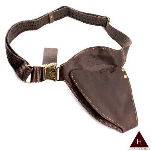 【H-CT】深咖啡流線型設計款真皮剪刀腰包(S1184-Z)