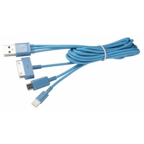 【KINYO】超強4合1充電線-藍(USB-42)